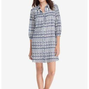 DVF Rylie Shirt Dress Silk Cotton Blue diamond 2